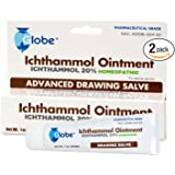 2-PACK Ichthammol Ointment 20%, (Drawing Salve) 1oz Tube (28.3g) Pharmaceutical Grade****
