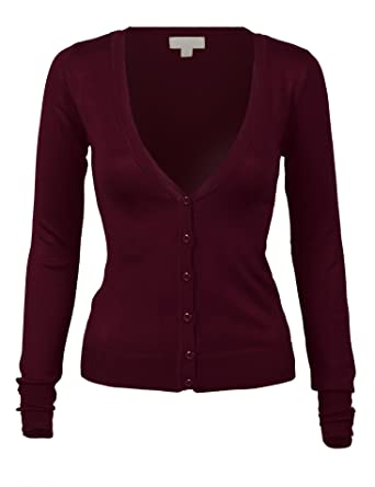 51acf4a0ed2c Women s V-Neck Button Down Long Sleeve Soft Knit Ribbed Classic ...