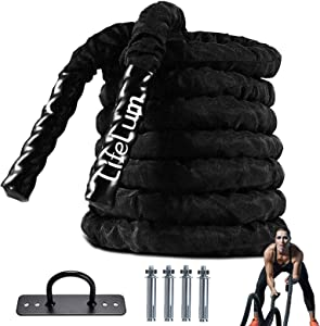 LIFELUM Battle Rope 1.5 Inch Heavy Battle Exercise Training Rope 30 ft Length with Protective Cover Workout Rope 100% Dacron Fitness Rope for Strength Training Home Anchor Kits Included