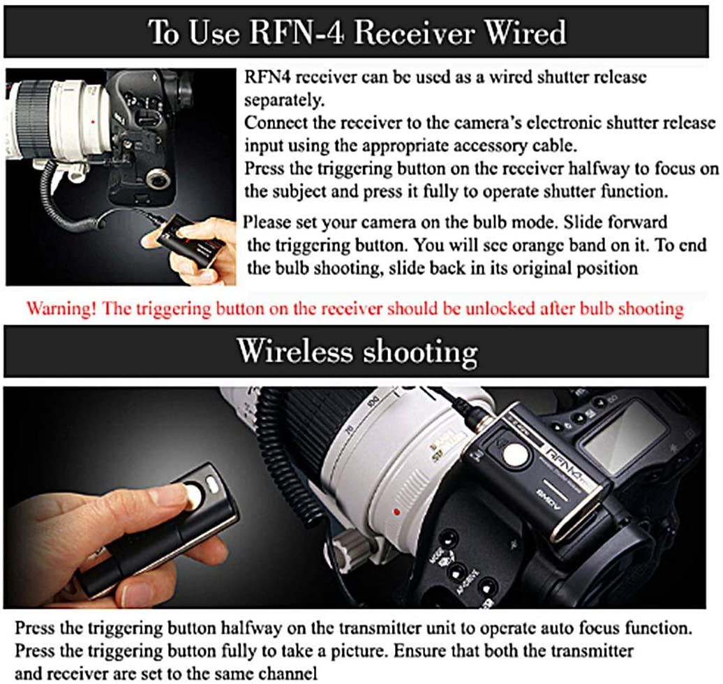 SMDV RFN4 RF-902 Wireless Remote Shutter Release for Olympus Transmitter and Receiver