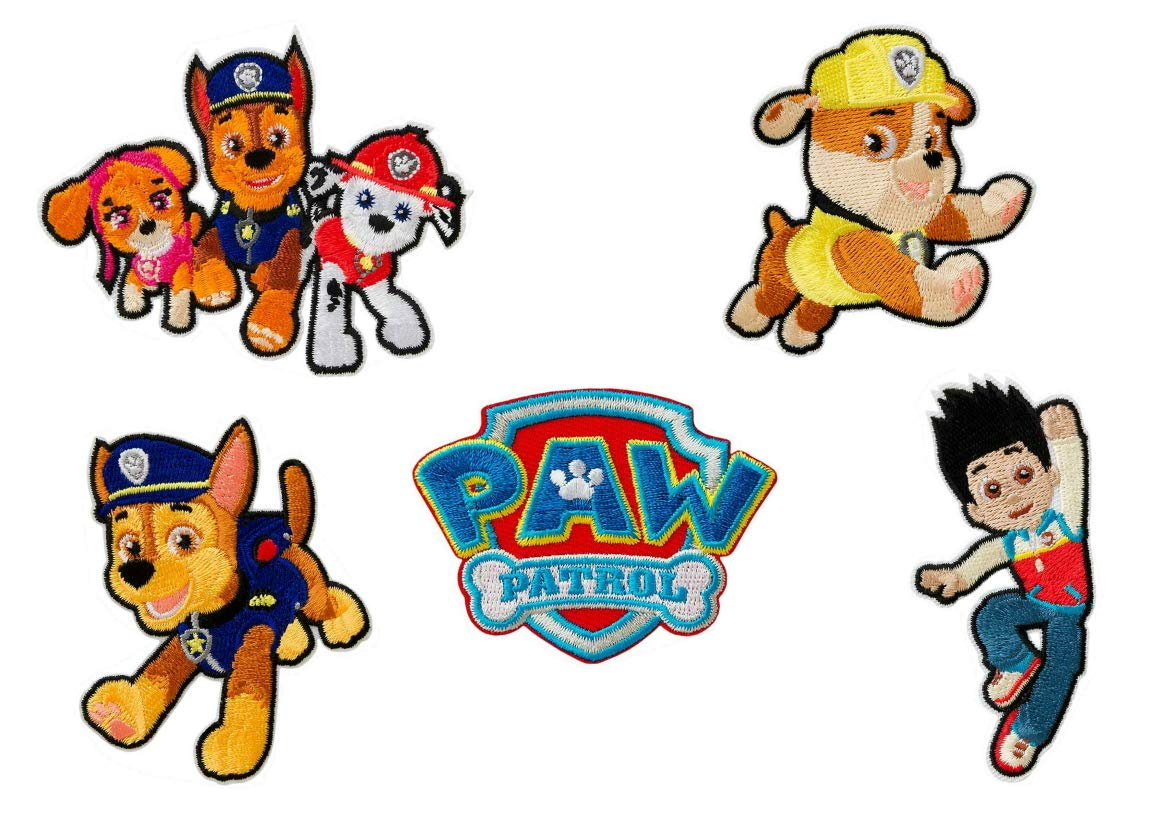 8cm 5 Mehrfarbig Polyester Mono-Quick Paw Patrol 5er Set Aufb/ügler,Aufn/äher,B/ügelbilder,Patch,Flicken,Bilder zum Aufb/ügeln