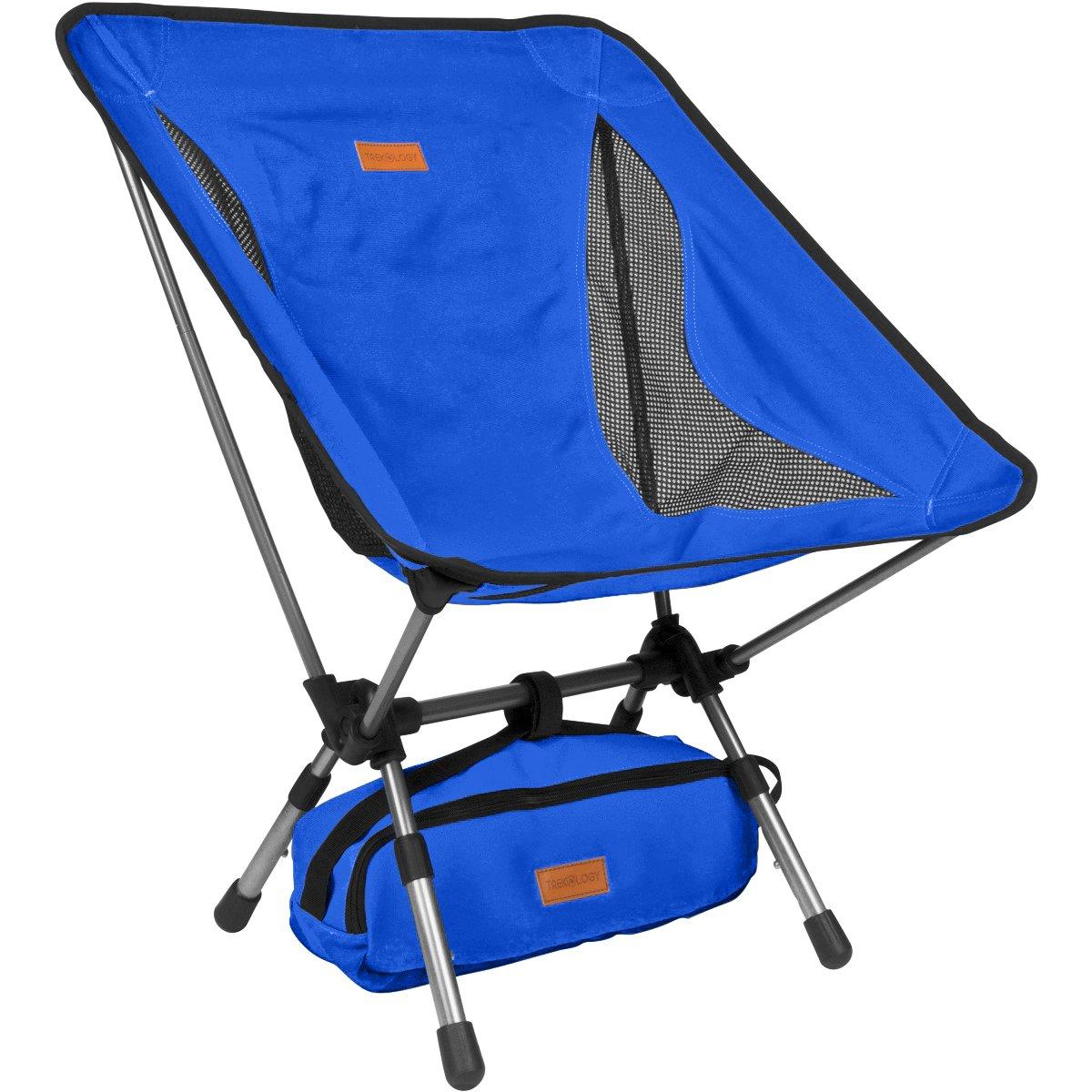 Trekology Yiziは高さ調節可能なポータブルキャンプチェア - コンパクトな超軽量折りたたみ式の背もたれの椅子、キャリーバッグ、ヘビーデューティー300 Lbの容量で、ハイカー、キャンプ、ビーチ、アウトドア用 B078QXLPVM 青 青