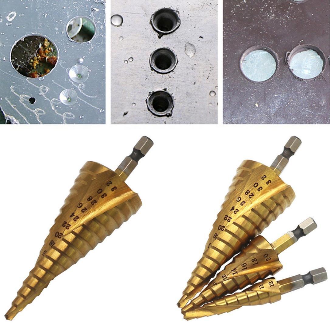 12//20//32/mm h/élico/ïdal HSS Groove Centre en carbure de tungst/ène solide Titane /étape conique Foret Scie-cloche 4 Tianranrt Foret /étag/é