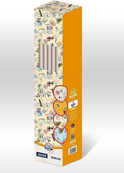 Pack 30 rollos] Papel de regalo Viajes 100x300cm: Amazon.es ...