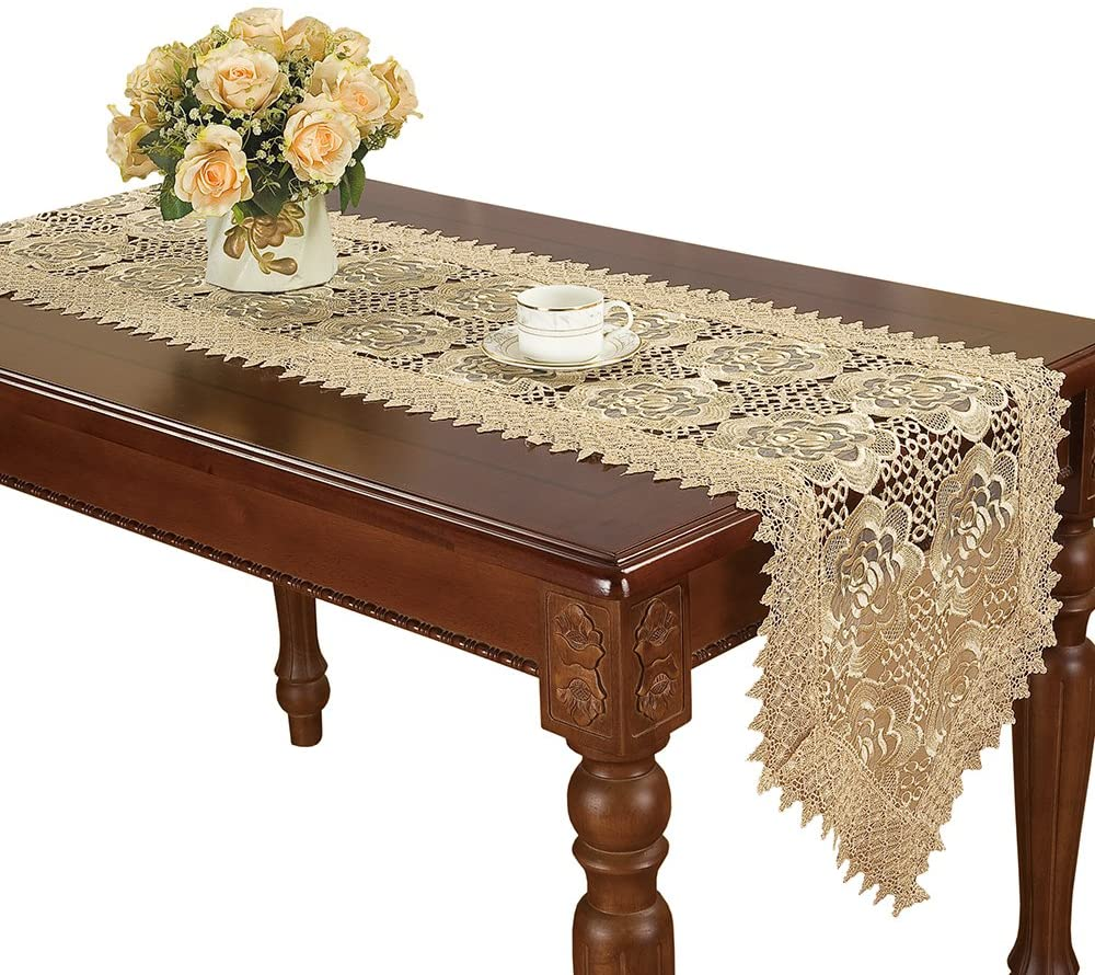 Simhomsen Embroidered Rose Flower Beige Lace Table Runner
