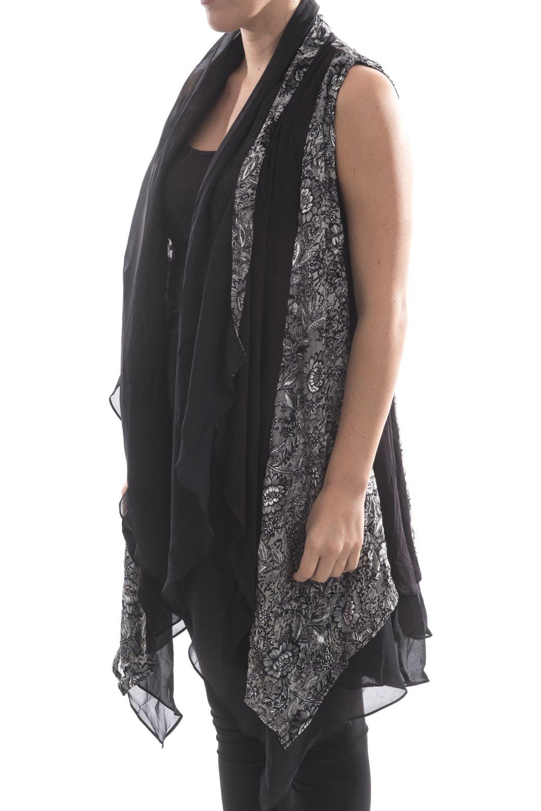 Aris. A Lightweight Silk Blend Velvet Long Drape Vest Size Large