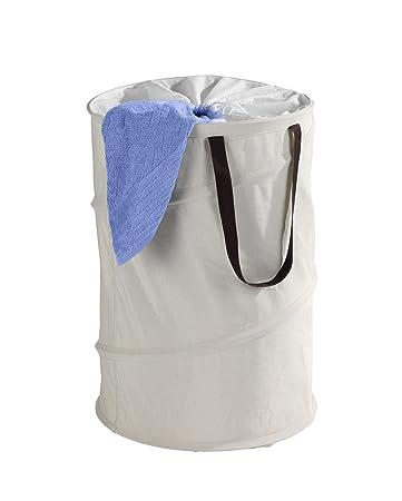 Wenko 62050100 Pop-Up Wäschesammler Jumper, Wäschekorb, Fassungsvermögen 75  L, Kunststoff - Polyester, 40 x 60 x 40 cm, beige