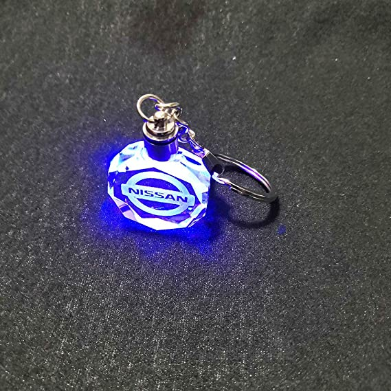 VILLSION 7 Color Changing Car Emblem Keychain with LED Light Key Chain for Car Interior Pendant Accessories
