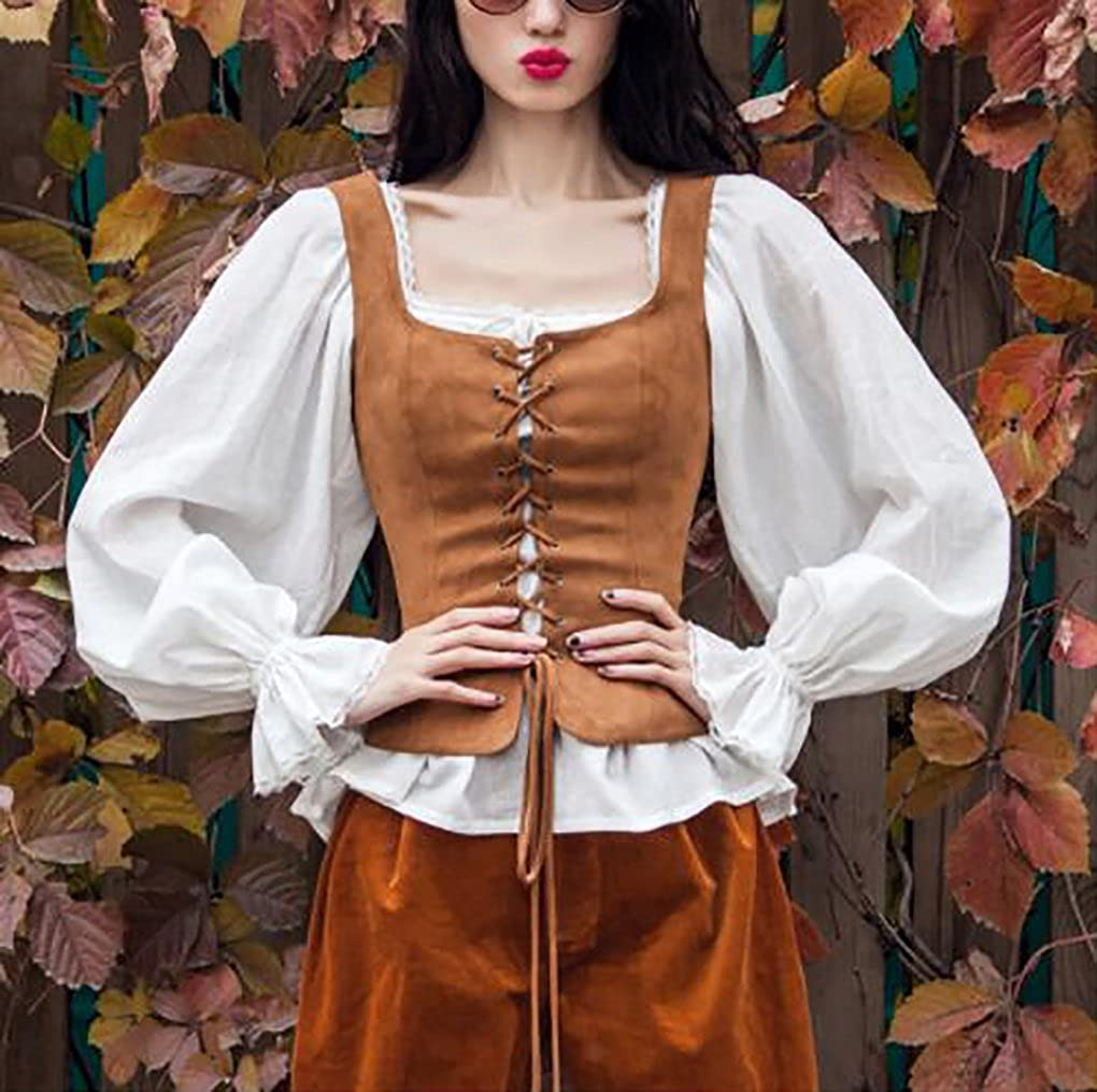 Lady Pirate Brown Velvet Lace-Up Bodice Costume Vest - DeluxeAdultCostumes.com