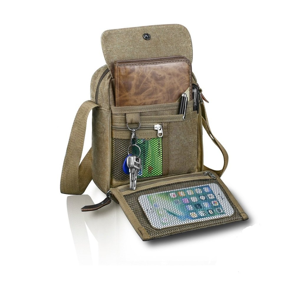 Harwish Small Men's Canvas Messenger for Outdoor Sports Over Shoulder Military Crossbody Side Bag