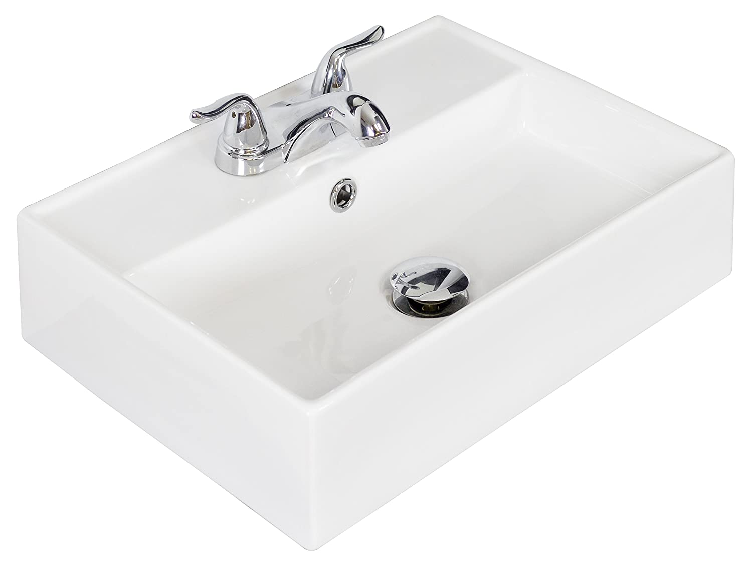 American Imaginations AI-5-1332 Wall Mount Rectangle Vessel for 4-Inch OC Faucet, 20-Inch x 14-Inch, White