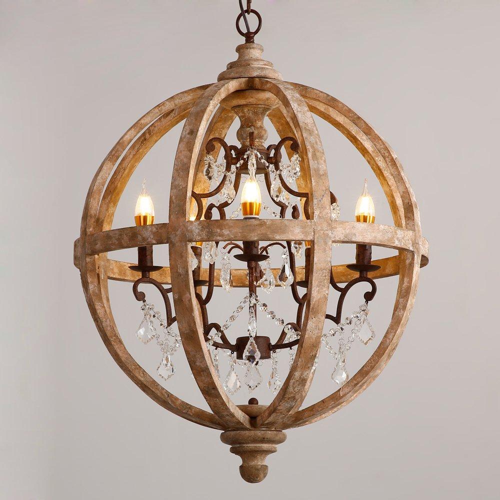 Lovedima New 24'' Wide Retro Rustic Weathered Wooden Globe Chandelier Crystal 5-Light Pendant Lighting