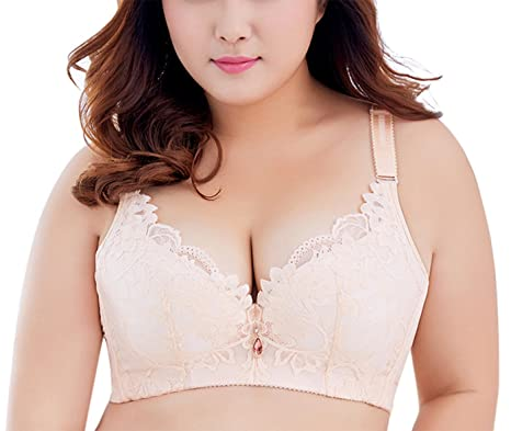 9f384420acbe4 Image Unavailable. Image not available for. Colour  DOOSINKI Women Plus  Size Sexy Lace Bra Underwire Push Up Thin Soft Minimizer ...