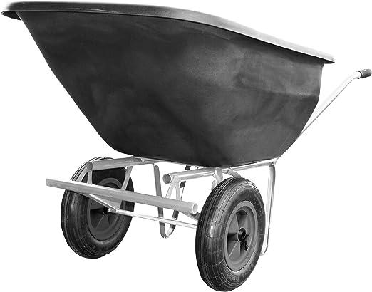 180 Liter, Schwarz Bauschubkarre Gartenkarre Ondis24 Schubkarre zweir/ädrig Metallachse Luftr/äder robuste Kunststoffmulde