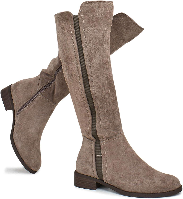Elastic Panel Knee High Boot