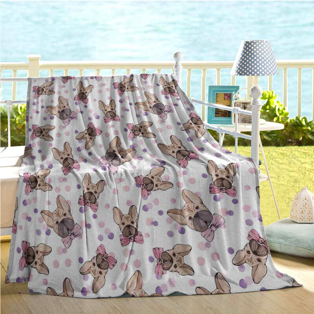 """Mademai Dog Baby Blankets for Girls,Watercolor Portraits of Domestic Pet Animals with Bowties and Dots,get Well Gifts Pale Pink Violet Pale Brown 70""""x90"""""""