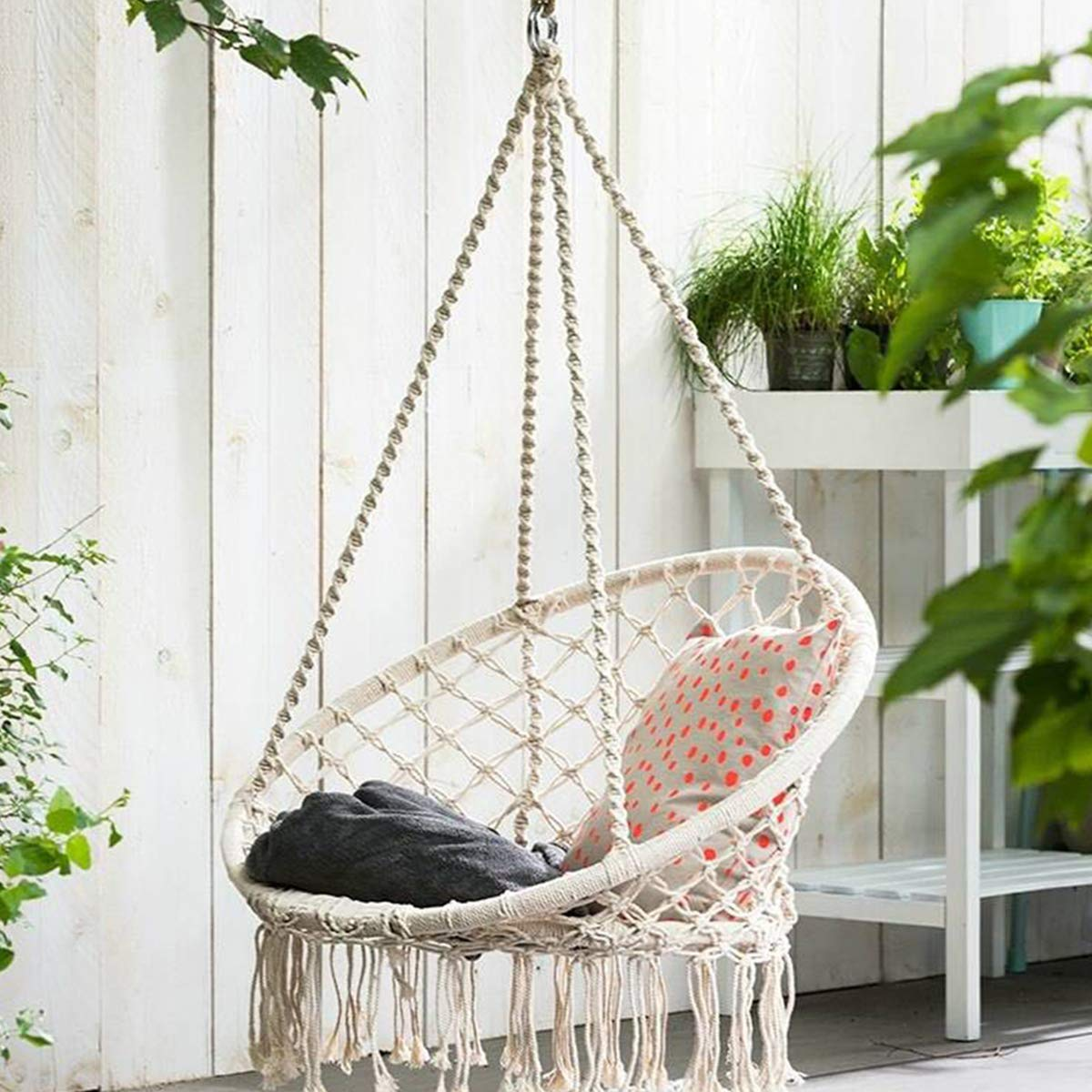 KingSo Hammock Chair Macrame Swing, Handmade Knitted Hanging Cotton Rope Chair for Indoor Outdoor Home Patio Deck Yard Garden Reading Leisure, 325 Pounds Capacity Beige