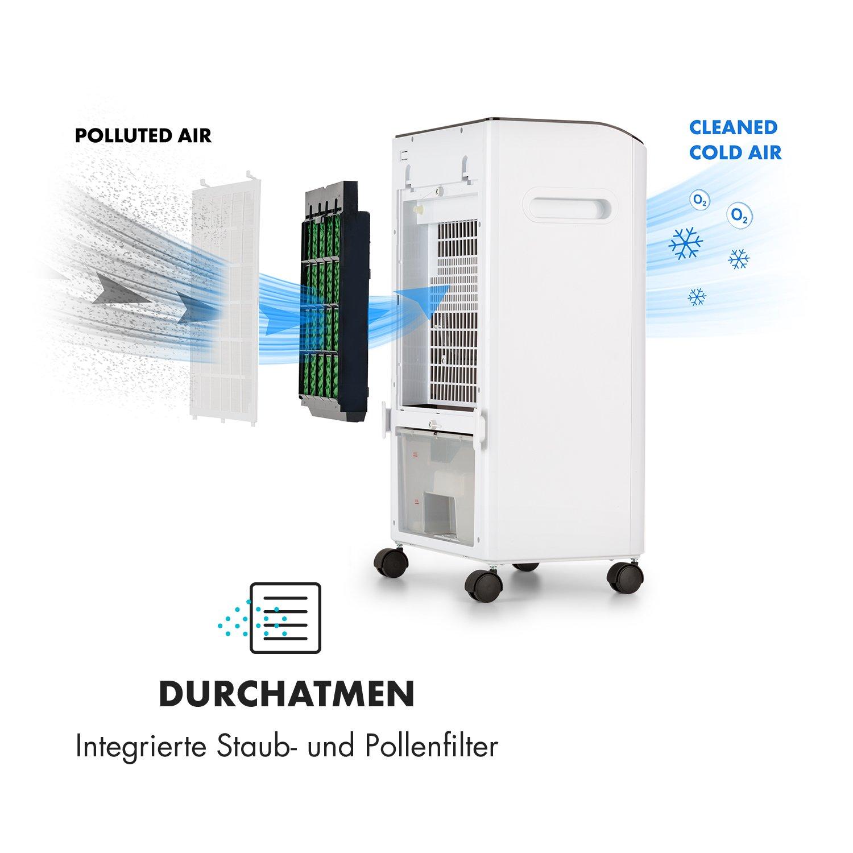 oneConcept MCH-2 V2 mobiles Klimager/ät /• Multi Edition /• 3-in-1 Luftk/ühler-Ventilator mit integriertem 2-h-Timer /• kapazit/ät Wassertank 8 Liter /• Transportgriffe /• schwarz-wei/ß