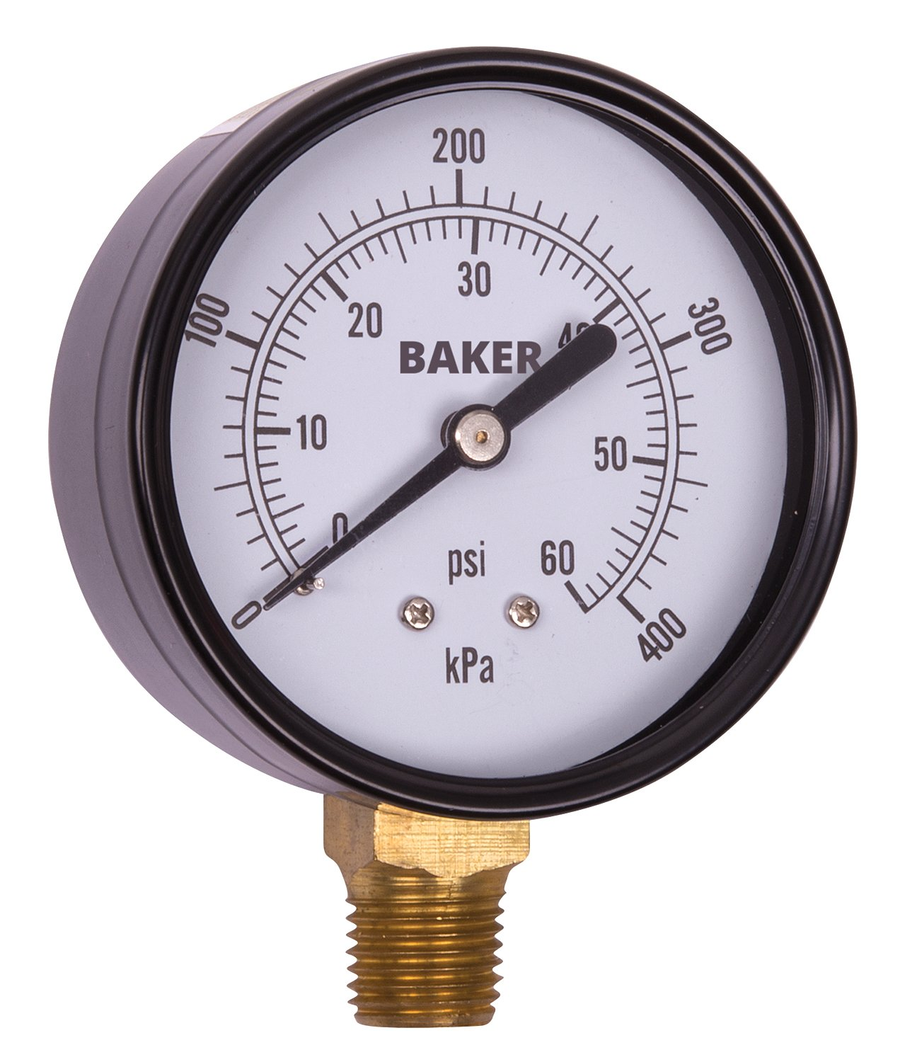 Baker Instruments LVBNA Series Stainless Steel Dual Scale Pressure Gauge 0 to 60 psi kPa 2.5 Dial 3 2 3% Accuracy 1 4 NPT Bottom Mount