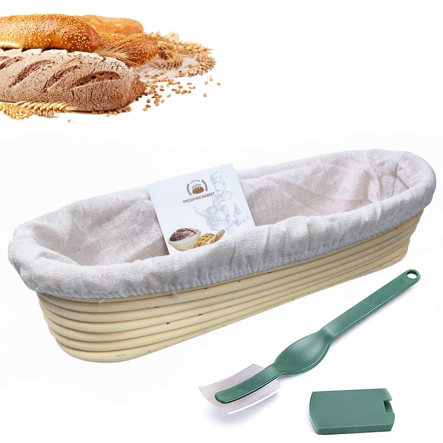 Oval Proofing Basket 10 Inch,WERTIOO Banneton Bread Proofing Basket + Dough Scraper + Linen Liner Cloth for Professional & Home Bakers Sourdough Recipe
