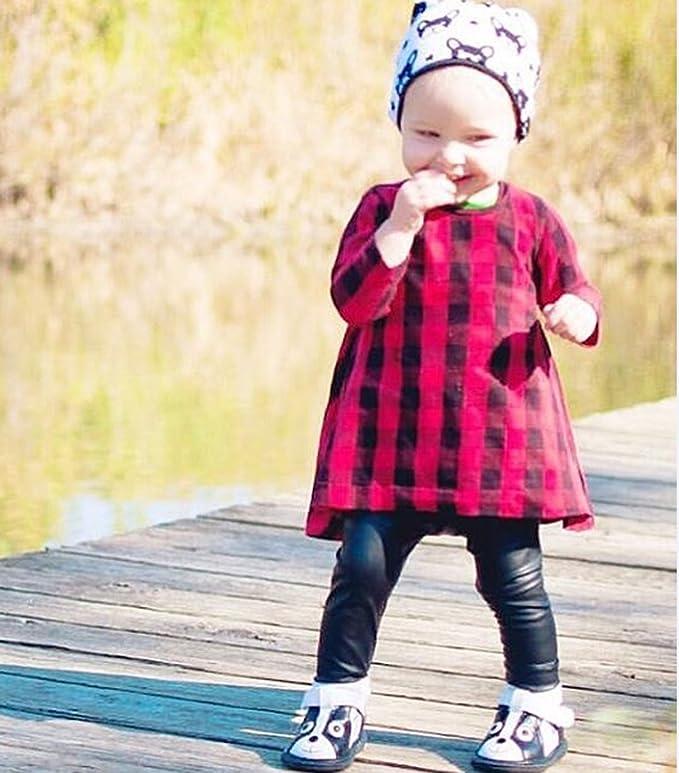 de3fb2df2d31 Amazon.com: Little Girls Baby Girls Long Sleeve Lovely Red and Black Plaid  Skirt Simple Casual Dress Top Sundress Boho Dress Skirt: Clothing