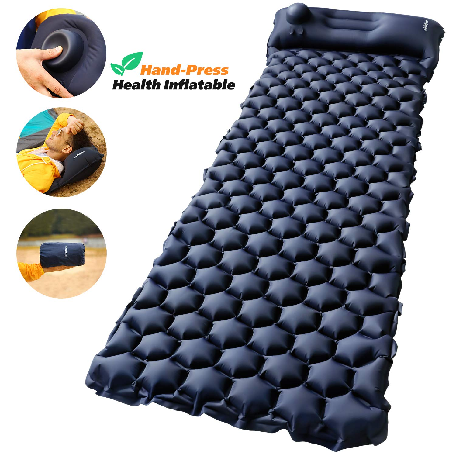 Camping Sleeping Pad with Built-in Pump - AirExpect Upgraded Inflatable Camping Mat with Pillow for Backpacking, Traveling, Hiking, Durable Waterproof Air Mattress Compact Ultralight Hiking Pad by AirExpect