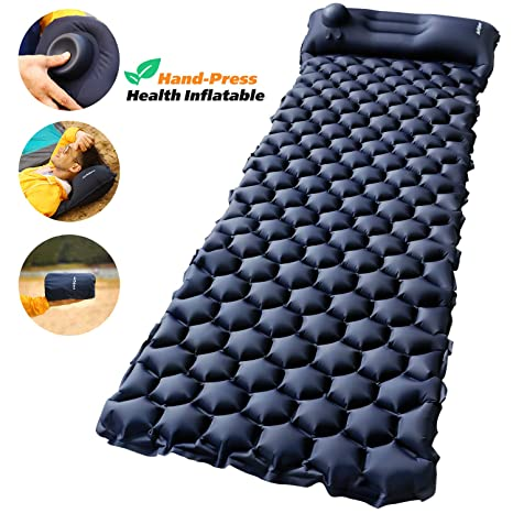 Camping Sleeping Pad with Built-in Pump – AirExpect Upgraded Inflatable Camping Mat with Pillow for Backpacking, Traveling, Hiking, Durable Waterproof ...