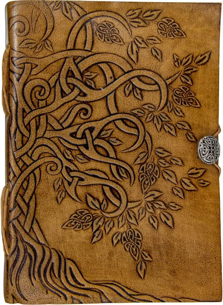 Handmade Tree of Life Genuine Leather Bound Notebook Journal Unlined Paper For Women Men 200 Pages Button Closure