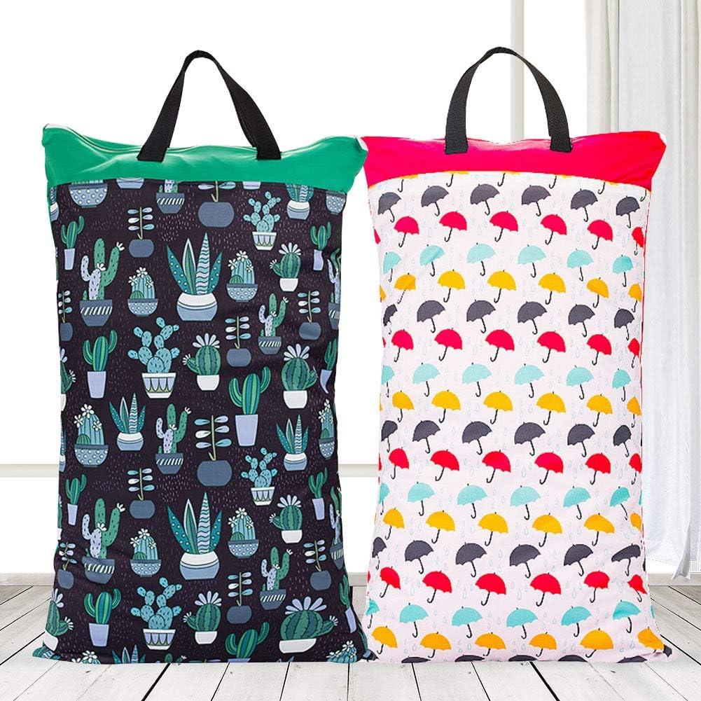 Almabner Cloth Diaper Wet Dry Bags,Waterproof Reusable Hanging Wet//Dry Cloth Diaper Pail Bag,Large Capacity Diaper Storage Bag for Diapers,Laundry