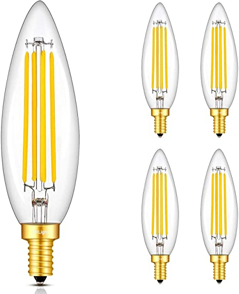 Crlight 8w Led Candelabra Bulb 3000k Soft White 80w Equivalent 800lm E12 Base Dimmable Led Filament Candle Bulbs Upgraded Lengthened Enlarged B11 Clear Glass Torpedo Shape Pack Of 4 Amazon Com