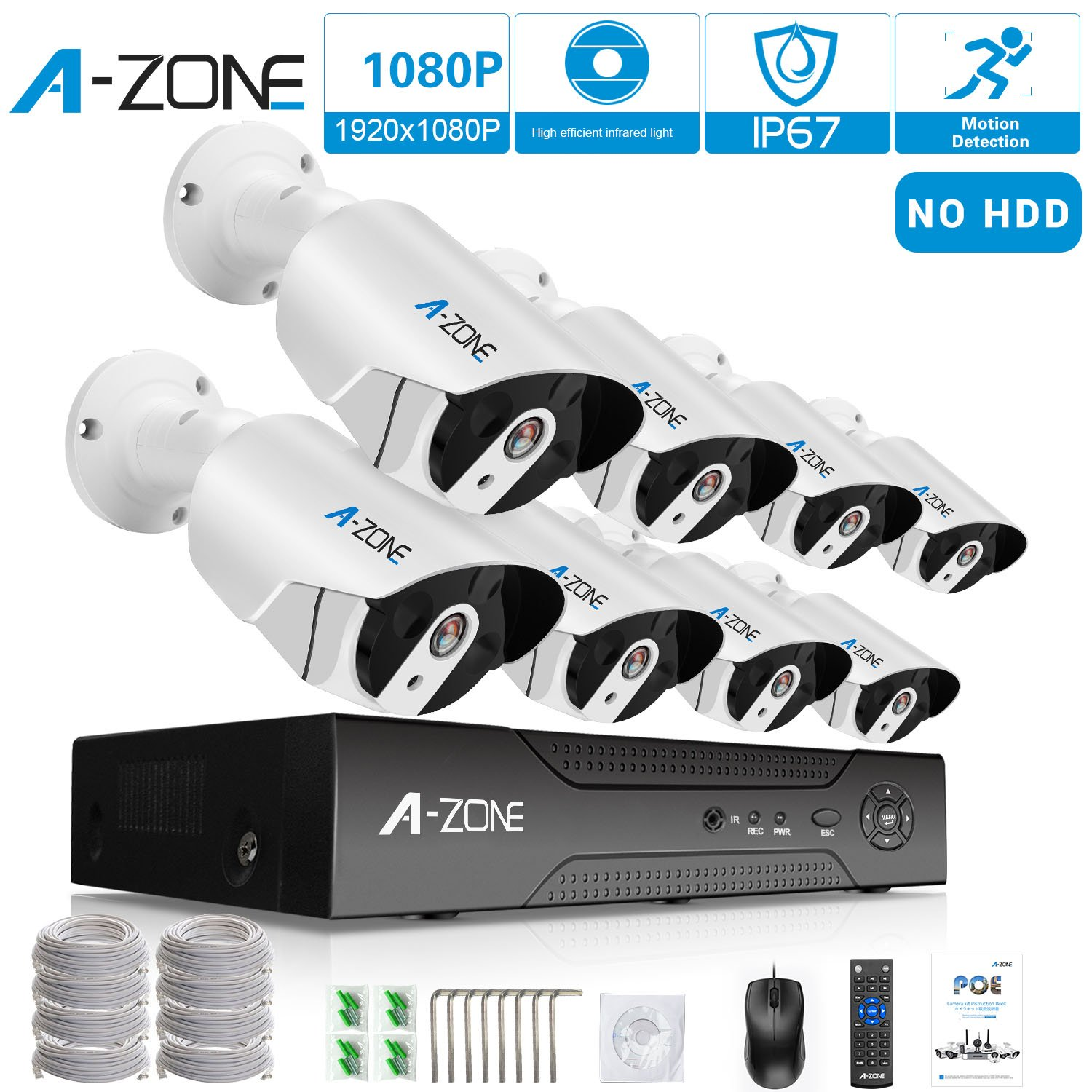 Security Camera System A-ZONE Security 1080p 8 Channel PoE IP Security Surveillance Camera System with 8 Outdoor/Indoor 1080P Cameras, Free Remote View, Super HD Night Vision- No Hard drive