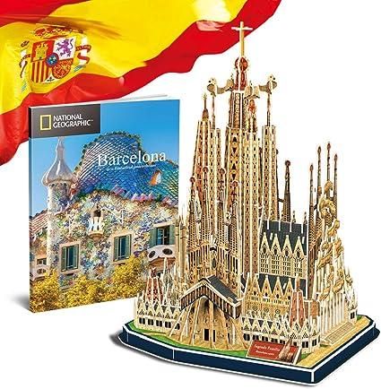 CubicFun National Geographic Puzzle 3D España Barcelona Sagrada Familia Kit de Gaudí Rompecabezas 3D Modelo Arquitectónico con Folleto de Regalo para Adults y Niños, 184 Piezas: Amazon.es: Juguetes y juegos