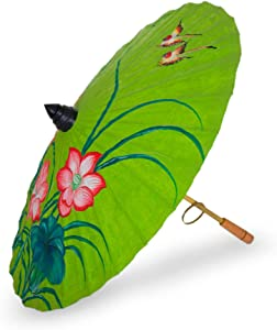 NOVICA Lime Green and Pink Painted Floral Paper Parasol with Bamboo Handle, Lily Wonderland'