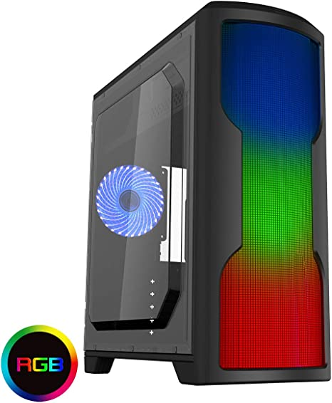 CiT Matrix Midi PC - Funda para Videojuegos con Panel Frontal de 75 ledes, Color Negro: Amazon.es: Informática