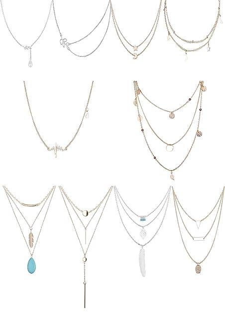 8a010339f Besteel 10 PCS Collar Sexy para Mujeres Chica Gargantilla Collar de Cadena  Larga Conjunto con Colgante Pluma del Corazón