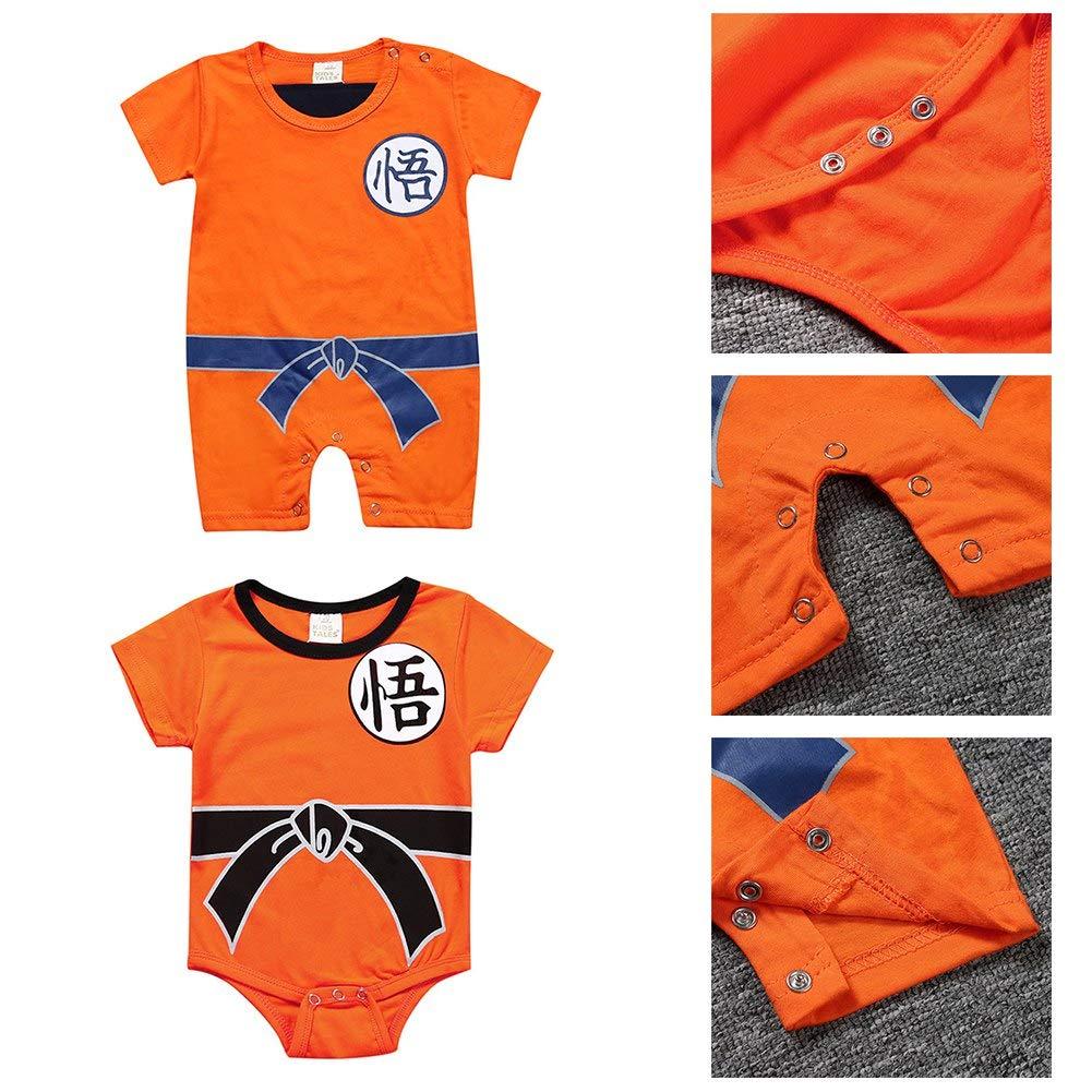 Saicowordist Dragon Ball Anime Cosplay Kurzarm//Langarm Baby Strampler Kost/üm Cartoon Sch/öne Overall Baby Kleidung 80 OR2