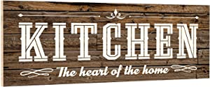 OYEFLY Rustic Farmhouse Kitchen Wall Decor Kitchen The Heart of The Home Wood Kitchen Signs (Brown)