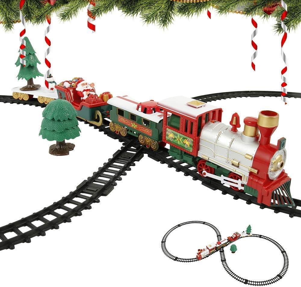 sflmk PandaHug - Juego de Tren de Navidad con Sonido Realista y luz a batería, Tren de Navidad con carruajes y Pistas de Navidad, Tren eléctrico de Juguete para niños