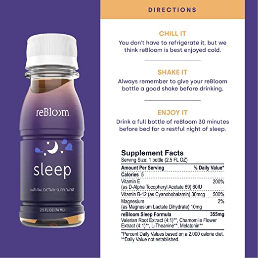 Amazon.com: REBLOOM Natural Sleep Aid with Melatonin - Proprietary Herbal Formula Drink Supplement & Non Habit Forming Sleeping Pill Alternative - Night ...