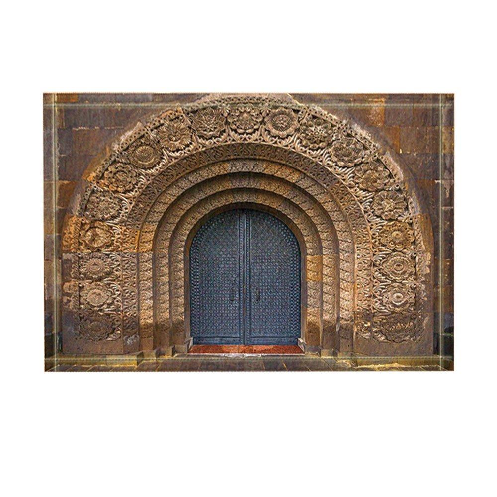 NYMB The Ancient Gates Decor, Door with the Christian Church Armenia Bath Rugs for Bathroom, Non-Slip Floor Entryways Outdoor Indoor Front Door Mat, Kids Bath Mat, 15.7x23.6in Brown(Multi10)