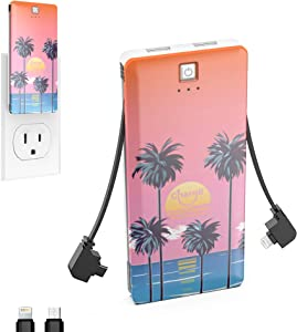 Chargii Portable Charger Built in Apple Cable with Wall Plug AC Adapter USB-C + 2 USB Ports - Compact External Powerbank Lightweight Cell Phone Compatible with Android/iPhone Battery Charger - Beach