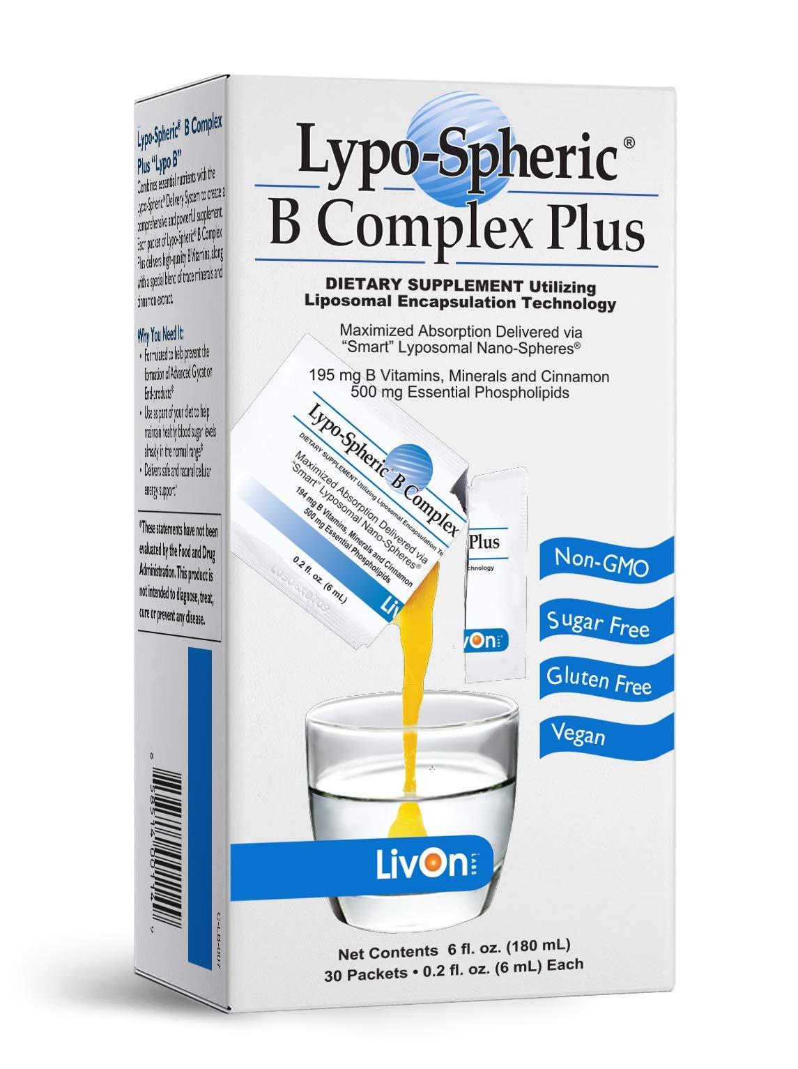 Lypo-Spheric B Complex Plus – 30 Packets – 195 mg B Vitamins, Minerals & Cinnamon Per Packet – Liposome Encapsulated for Maximum Bioavailability – Non-GMO Essential Phospholipids