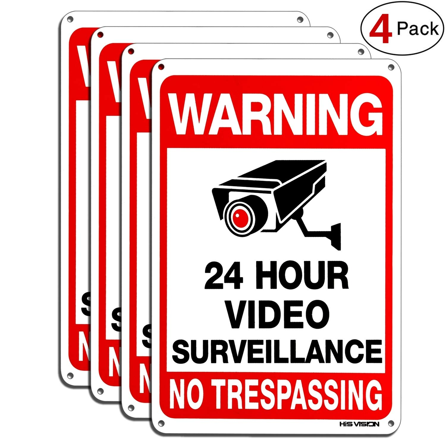 HISVISION Video Surveillance Sign 4-Pack, No Trespassing Metal Reflective Warning Sign,UV Protected & Waterproof, 10''x 7'' 0.40 Aluminum Indoor Or Outdoor Use for Home Business CCTV Security Camera