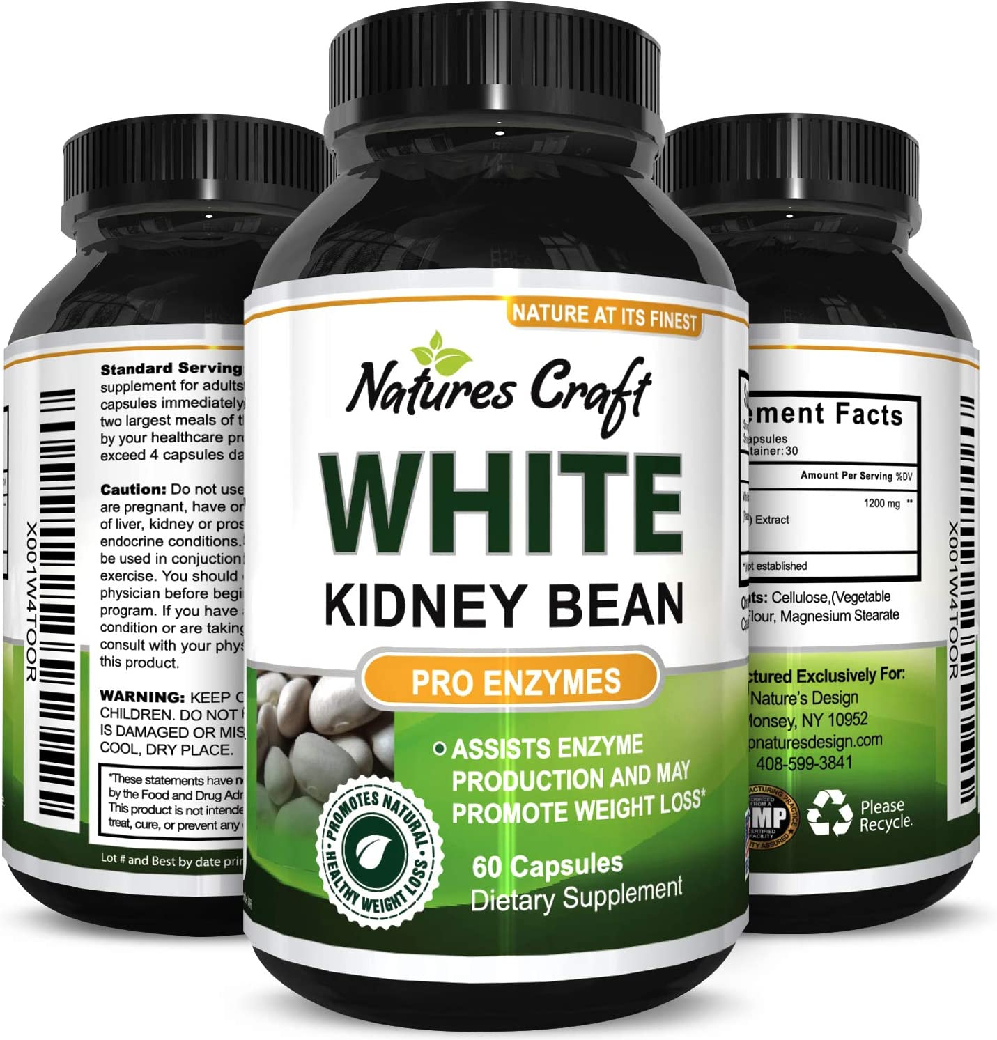 Pure White Kidney Bean Extract Carb Blocker Natural Supplement for Appetite Control Health Weight Loss Energy Pills for Women Men Digestive Support Capsules for Fat Loss