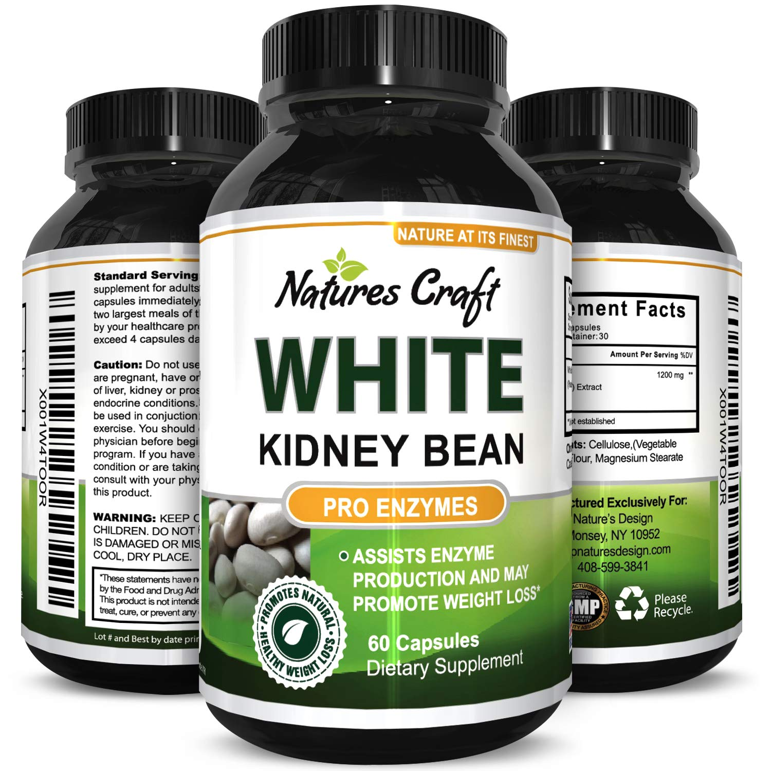Natures Craft s 100 Pure White Kidney Bean Extract Phase 2 Starch Neutralizer a Natural Carb Blocker Appetite Suppressant, Supports Weight Loss Helps Control Blood Sugar 60 Capsules