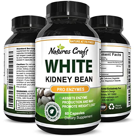 Biogreen Labs Pure White Kidney Bean Extract Natural Weight Loss Pills Carb Blocker Fat Burner Supplement Appetite Suppressant USA Made 60 Capsules