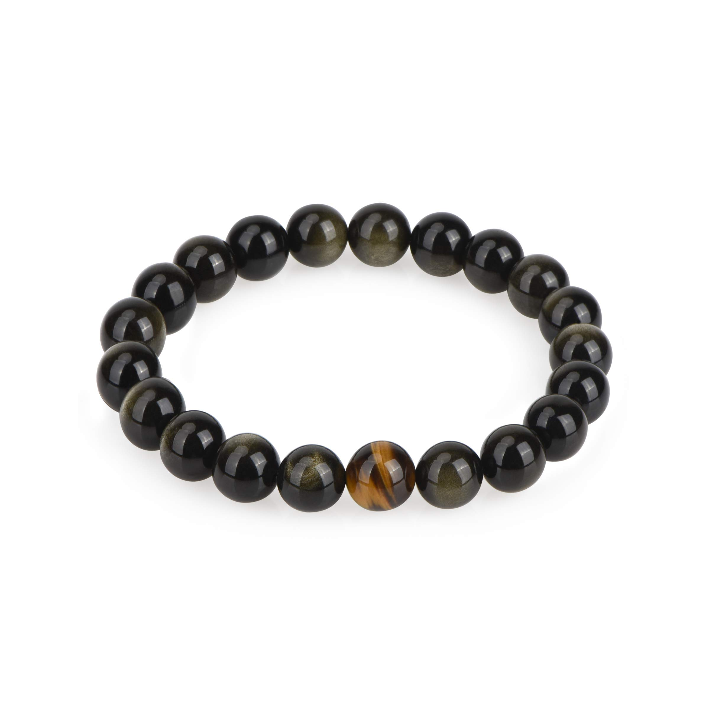COLORFEY Mens Tiger Eye Golden Sheen Obsidian Energy Healing Natural Gemstone Bracelet for Meditation