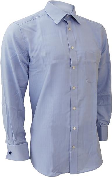 Brook Taverner - Camisa de Manga Larga Súper Fina Diseño Ejecutivo clásico Modelo Bresso para Hombre Caballero - Trabajo/Boda/Fiesta (Cuello 41cm) (Azul): Amazon.es: Ropa y accesorios