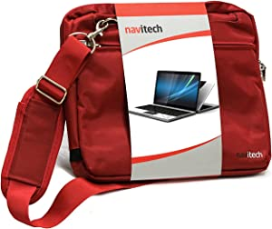 Navitech Red Sleek Premium Water Resistant Shock Absorbent Carry Bag Case Compatible with The The Acer Travelmate P259 14 inch