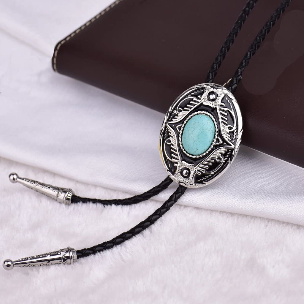 HUABOLA CALYN Turquoise Bolo Tie,Western Bola Tie for Men